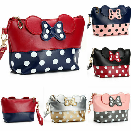 Cute MINNIE MICKEY MOUSE Polka Dots Travel Case Clutch Bag H