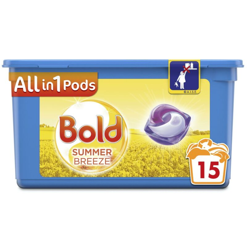 Bold All in 1 Pods Summer Breeze Washing Detergent, Liquid Capsules & 15 Washes