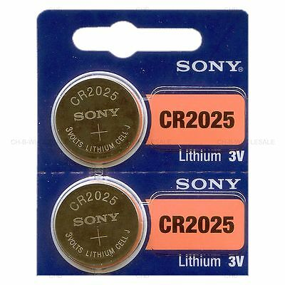 2 NEW SONY CR2025 3V Lithium Coin Battery Expire 2027 FRESHLY NEW - USA Seller