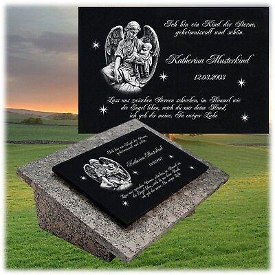 Grabplatte Granit Grabstein Text Gravur 60 x 40 cm  DS-103 Grabdeko mit Foto