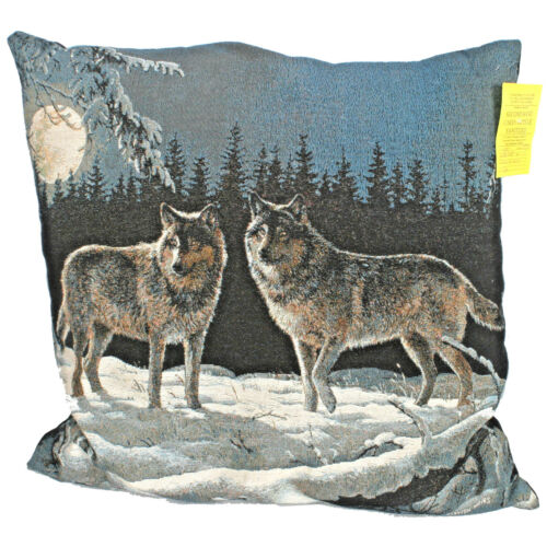 "Throw Pillow Two Wolves Theme Moon Forest Wolf 24"" X 24"" X 7"""