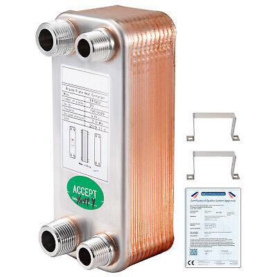 20 Plate Heat Exchanger W Brackets 12 34 Mpt 3 X 8 316l Stainless Steel