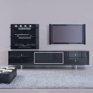 """Beyond Furniture"" Prima Dark Glossy Grey TV unit"