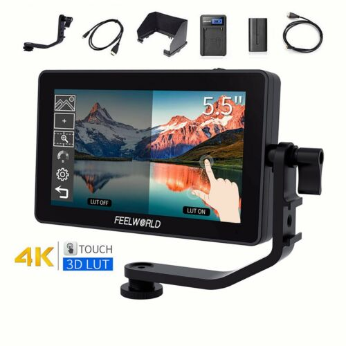 """FEELWORLD F6 Plus 5.5"""" 3D LUT Camera Field Touch Screen Monitor HDR 4K HDMI"""