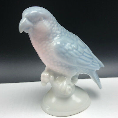 BAVARIA PORCELAIN FIGURINE sparrow bird blue pink W Germany sculpture statue