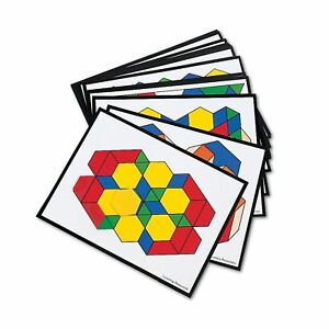 Learning Resources Wooden Pattern Blocks (250)  Design Cards