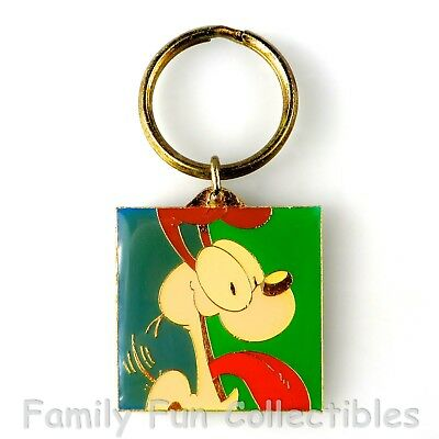 GARFIELD~1990s Key Chain Ring~Oddie~Comic Cartoon Character Dog Figure~NEW NOS