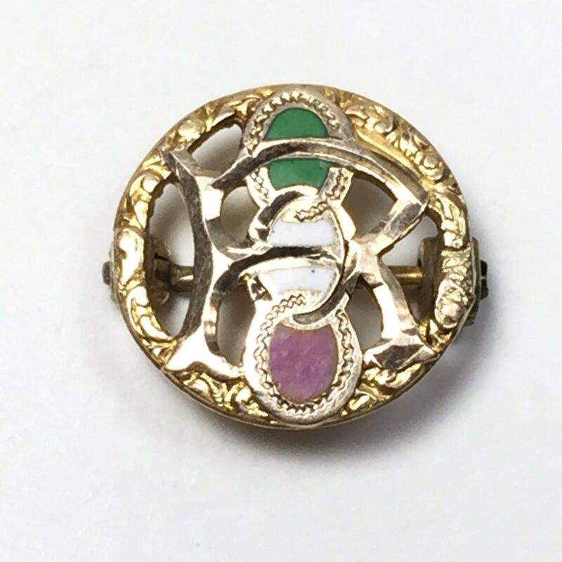 Antique Daughters of Rebekah 10K Yellow Gold Enamel Pin Odd Fellows
