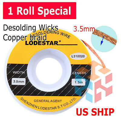 3.5mm Desoldering Braid Wick Solder Remover W No Residue Rosin Flux 5 Ft