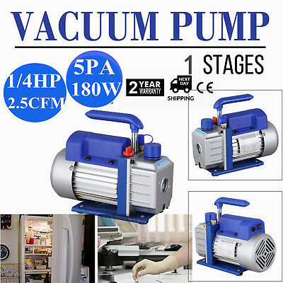2.5cfm Hvac Ac Rotary Vane 14hp Deep Single Stage Vacuum Pump Refrigerant Blue