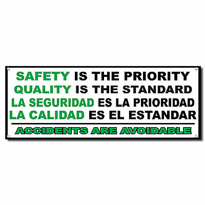 Safety Priority Quality Standard Spanish Banner Sign 3 Ft X 6 Ft Wgrommets