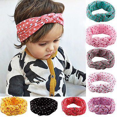 Kids Girl Baby Toddler Turban Knotted Polka Dot Headband Hair Band Headwear Lot - Polka Dot Headband