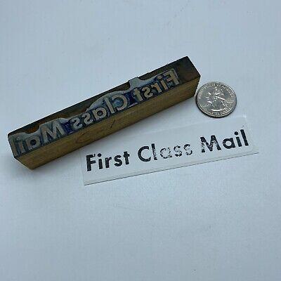 Vintage First Class Mail Wood Letterpress Block Print Stamp 4 18 X 58