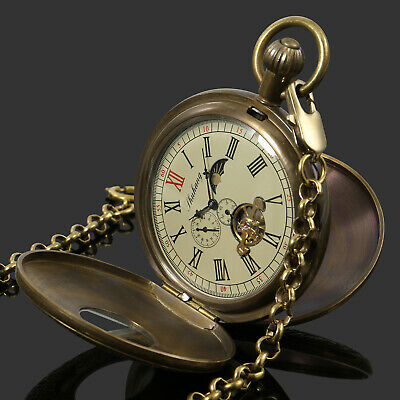 Mens Pocket Watch Mechanical Tourbillon Copper Retro Case Hand-winding Luxury