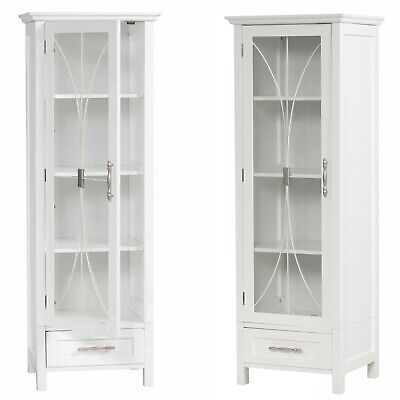 1 Door Bathroom Linen Cabinet Tower Furniture Tall Drawer Shelves White Bath - Tall Linen Cabinet