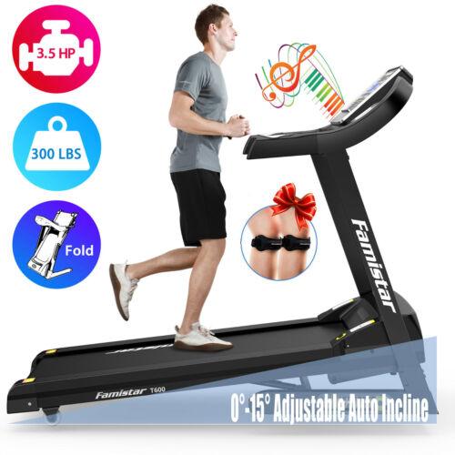 Famistar 3.5HP Folding Treadmill, 15% Auto Incline 300LBS Weight-Capacity