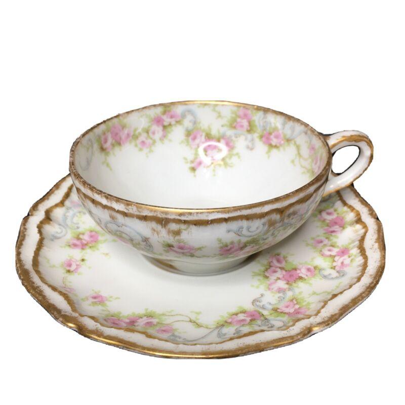 Antique Theodore Haviland Limoges Tea Cup Saucer Pink Roses Blue Scrolls