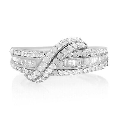 0.85 Ct Round Baguette Cut Natural Diamond Swirl Engagement Band Ring 925 Silver Baguette Diamond Swirl Ring