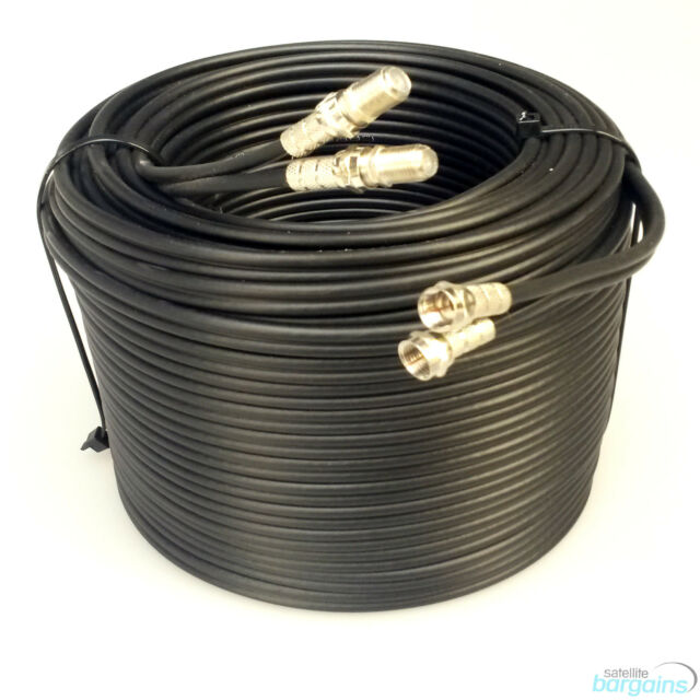 10m Black Twin Shotgun Satellite Coaxial Extension Cable Lead 4 Sky Plus HD TV