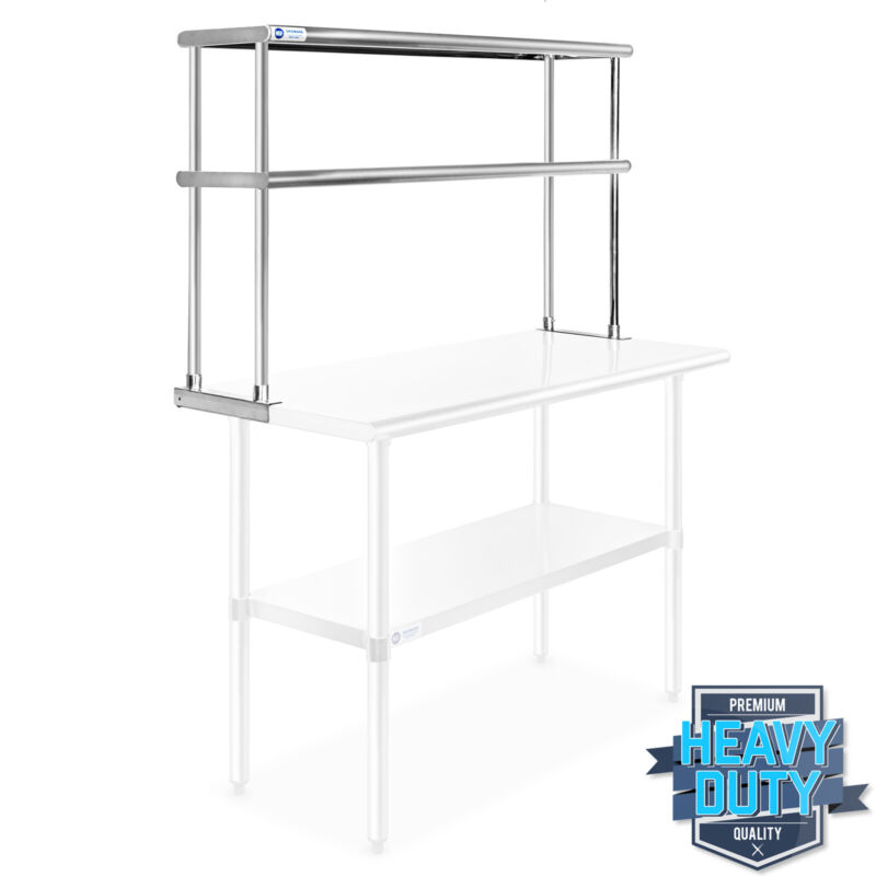 """Stainless Steel Commercial Wide Double Overshelf 12"""" x 48"""" - for Prep Table"""