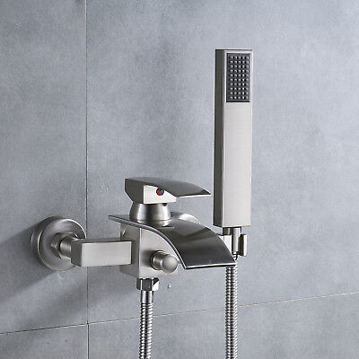 Brushed Nickel Wall Mount Tub Faucet Waterfall Single Handle Tap Hand Shower Set - Nickel Wall Faucet