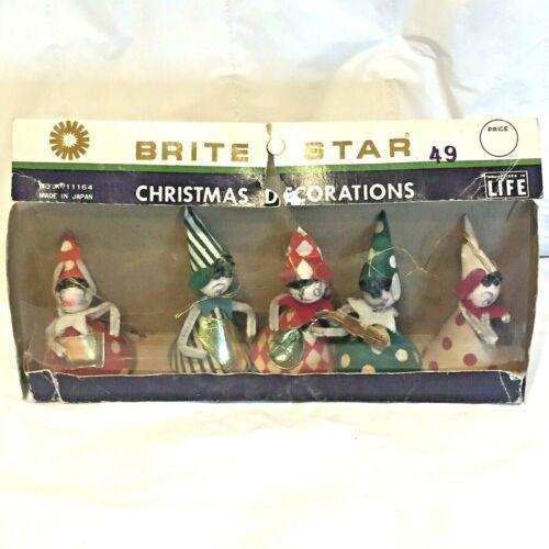 Set of 5 Vtg MCM BRITE STAR ANGEL Christmas Ornaments w BOX No. 11164 ~ Japan