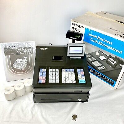 Sharp Xe-a23s Electronic Cash Register W Original Box Manual Paper Rolls Etc