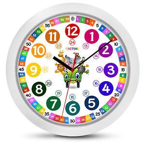 ONETIME Children's Wall clock Ø 30,5cm children silent & colourful Animal Design