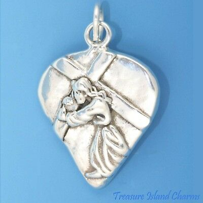 Jesus Christ Carrying Cross .925 Solid Sterling Silver Charm Pendant MADE IN USA