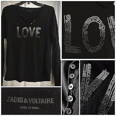 NWT Zadig & Voltaire Tunisian Studded 'LOVE' L/S Henley Top SMALL in Black