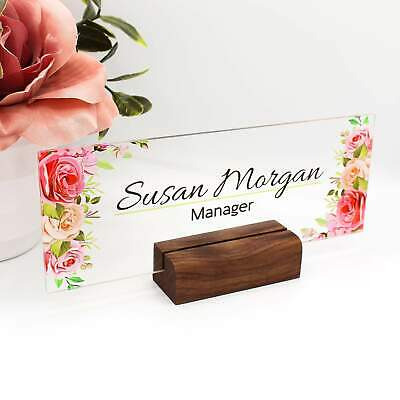 Desk Name Plate Custom Name Sign Personalized Wood Desk Name Customized Walnu