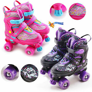 Kids Adjustable 4 Wheel Quad Roller Skates Boots Childrens Rollers