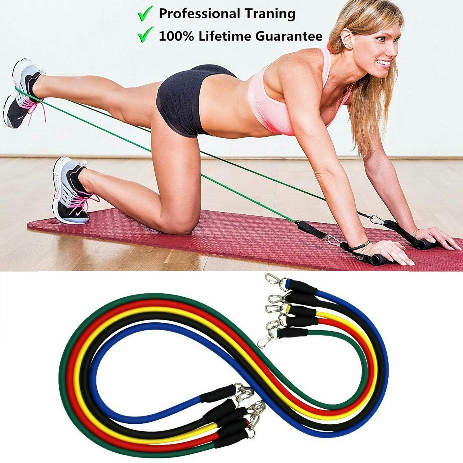 11 Pieces Resistance Trainer Set Exercise Fitness Tube Gym Workout Bands Yoga 5