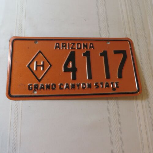 VINTAGE ARIZONA LICENSE PLATE FOR HAZARDOUS MATERIALS