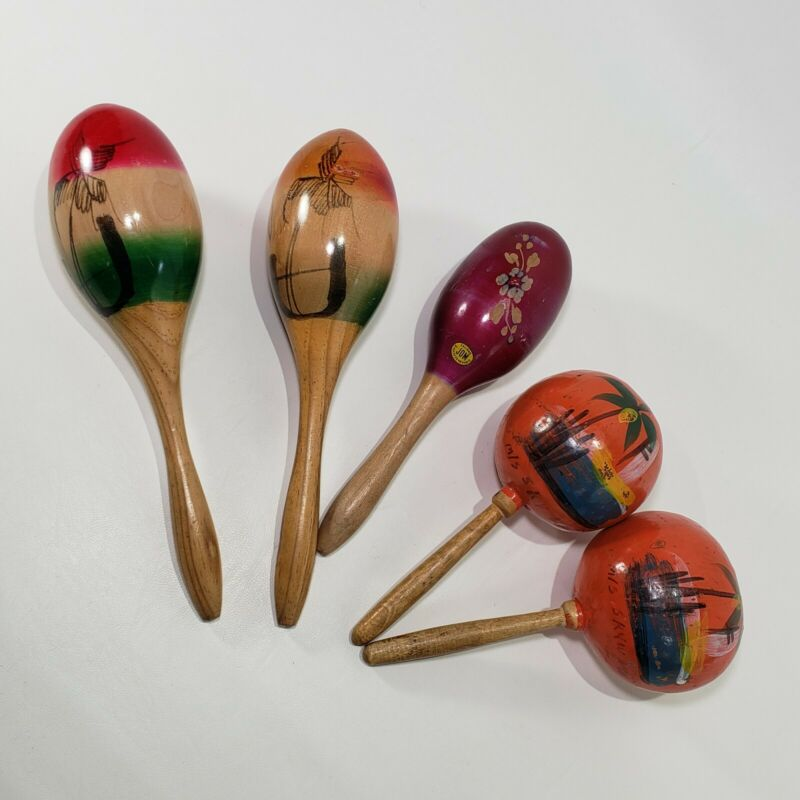 Maracas Vintage Lot 5 Wood Hand Painted Orange Wine One Carved Shakers Mexican
