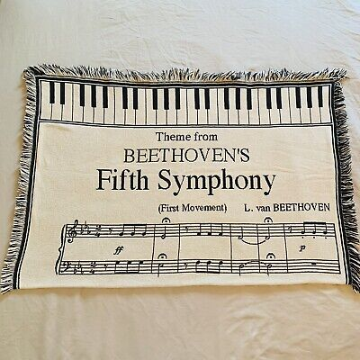 """BEETHOVEN'S FIFTH SYMPHONY THROW BLANKET TAPESTRY - Approximately 60 x 45"""""""