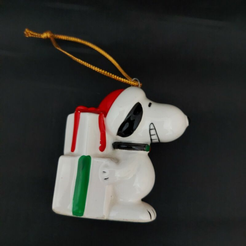 Vintage Peanuts Snoopy with Gifts Christmas Ornament Ceramic Made in Japan 1966