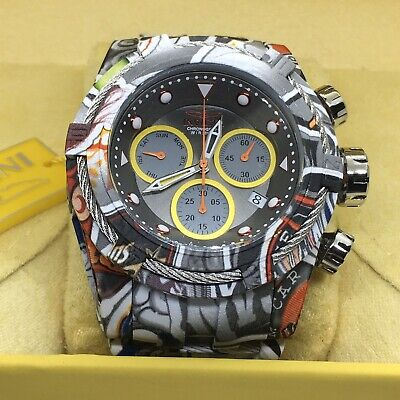Invicta Bolt Zeus Hydroplated Steel Graffiti Chronograph 52mm Gunmetal Watch #40