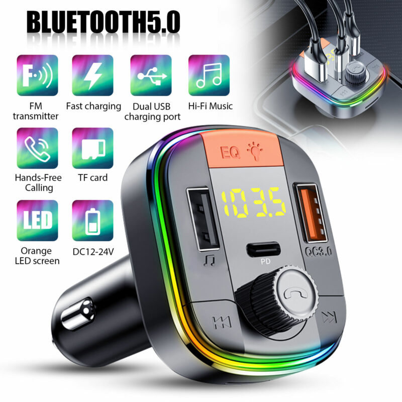 Wireless Bluetooth 5.0 Car FM Transmitter Mp3 Radio LED+PD Adapter 2 USB Charger