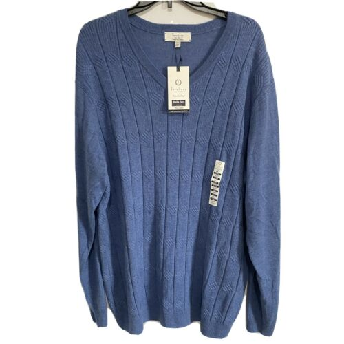 $98 Turnbury Mens V-Neck L/S Sweater Pullover 2XT 2XLT Merino Wool Blue Holiday Clothing, Shoes & Accessories