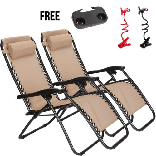Set Of 2 Zero Gravity Chairs Folding Lounge Patio Outdoor Re