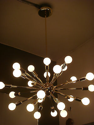 SPUTNIK STARBURST LIGHT FIXTURE CHANDELIER LAMP POLISHED BRASS BULBS INCLUDED
