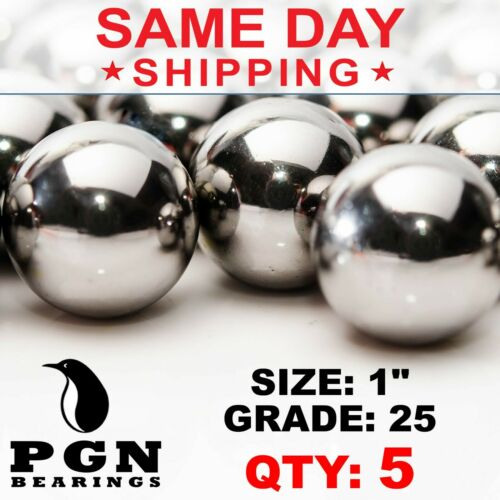 "5 QTY - 1"" Inch G25 Precision Chrome Steel Bearing Balls Chromium AISI 52100"