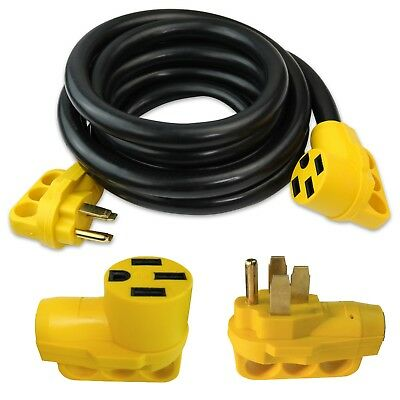 15 foot ft 50 amp RV Trailer Truck Motorhome Camper Power Extension Cord 50a