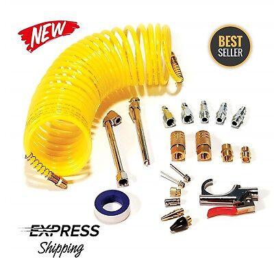 20 PIECE Air Compressor System Accessory Kit 25 ft Recoil Hose + Gun Nozzles Set