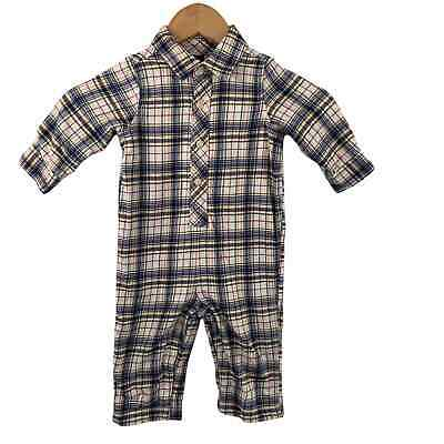 Baby Gap Plaid One Piece Lined Outfit Boys Sz 12-18 Months Snap Legs