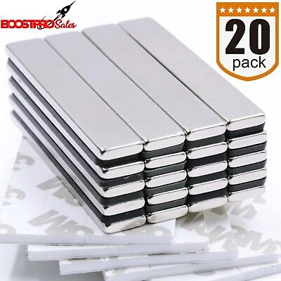 Strong Heavy Duty Neodymium Magnet Bar 12 Lb 20 Pack With Double Sided Adhesive
