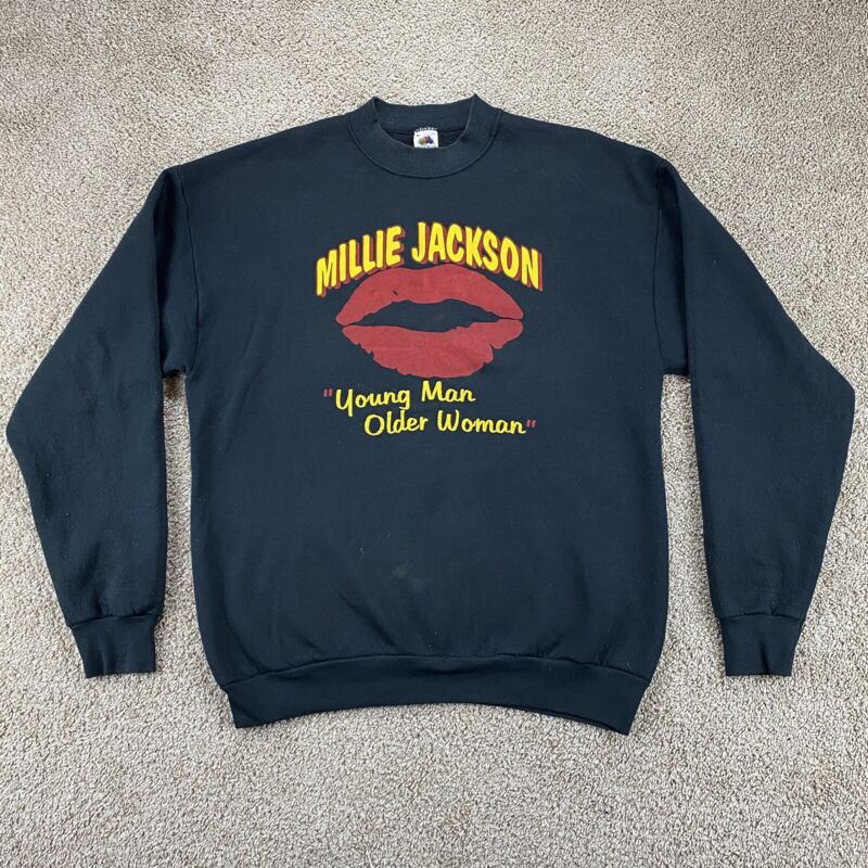 Rare Vintage Millie Jackson Young Man Older Woman Sweatshirt Made USA Stained