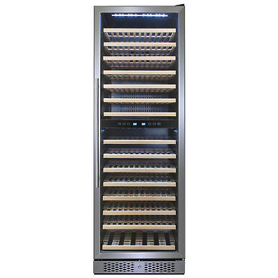160 Bottles Dual Zone Freestanding Electric Wine Cooler w/ Built-in Compressor