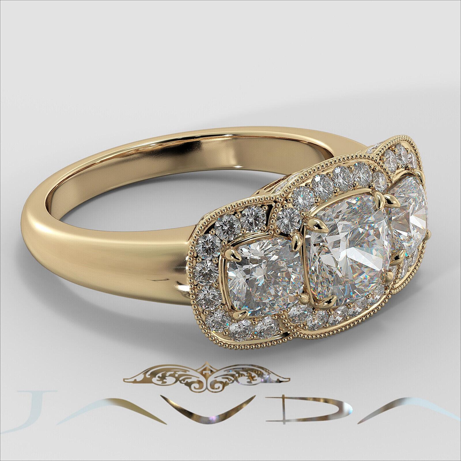 2.25ctw Milgrain Halo 3 Stone Cushion Diamond Engagement Ring GIA I-SI1 W Gold 9